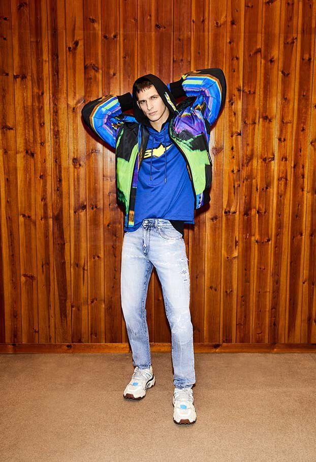 W-ON-AOP, Blue/Green - Winter Jackets