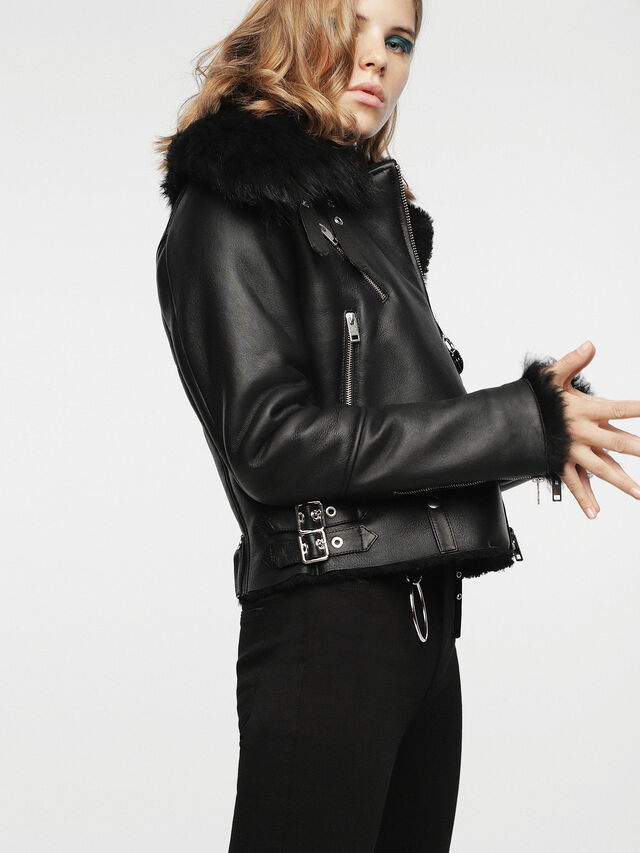 Diesel - L-TIA, Black Leather - Leather jackets - Image 3
