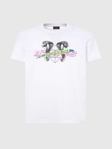 T-shirt with cobra and logo print