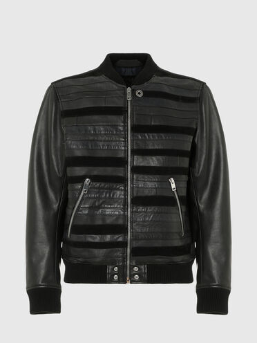 Bomber jacket in leather and wool