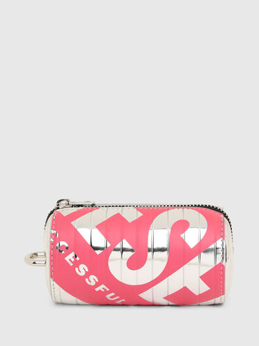 Pouch with mirror-effect logo print
