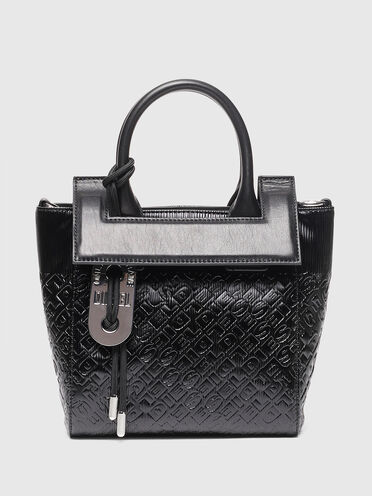 Satchel in logo-debossed faux leather