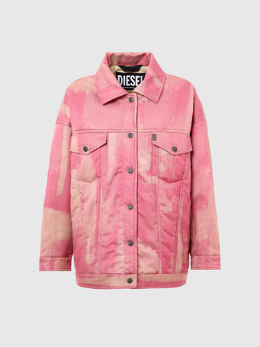 Trucker jacket with treated effect