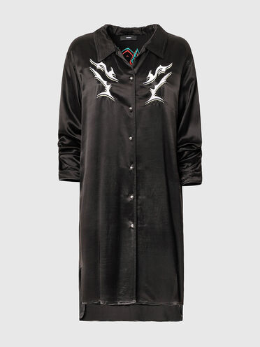 Shirt dress with tribal embroidery