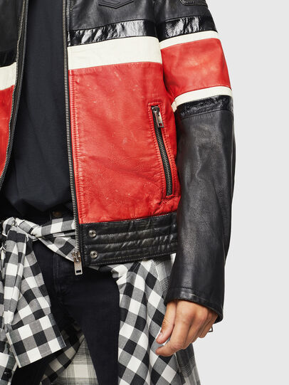 Diesel - L-ROURKE, Black/Red - Leather jackets - Image 3