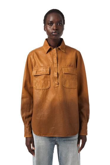 Overdyed shirt in coated gabardine