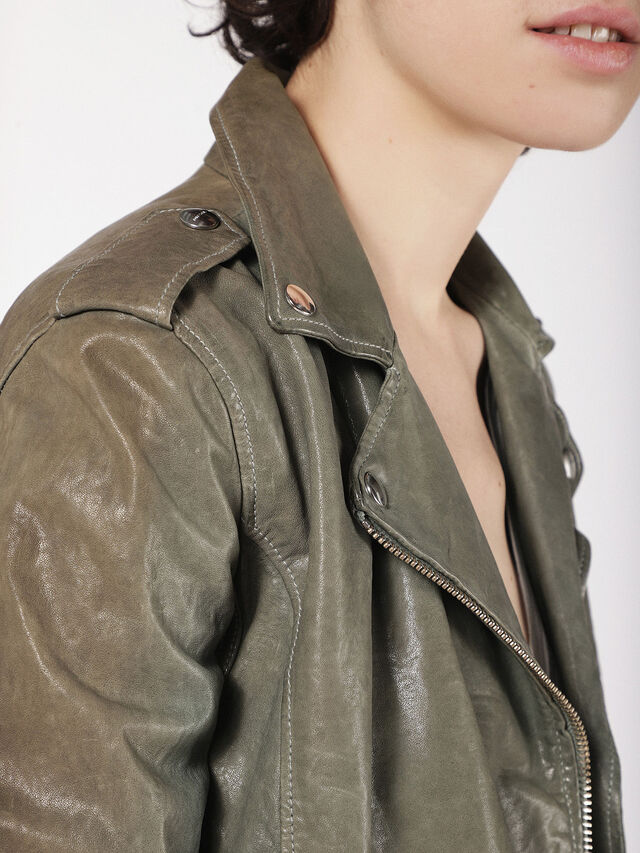 Diesel - L-SERY, Olive Green - Leather jackets - Image 4
