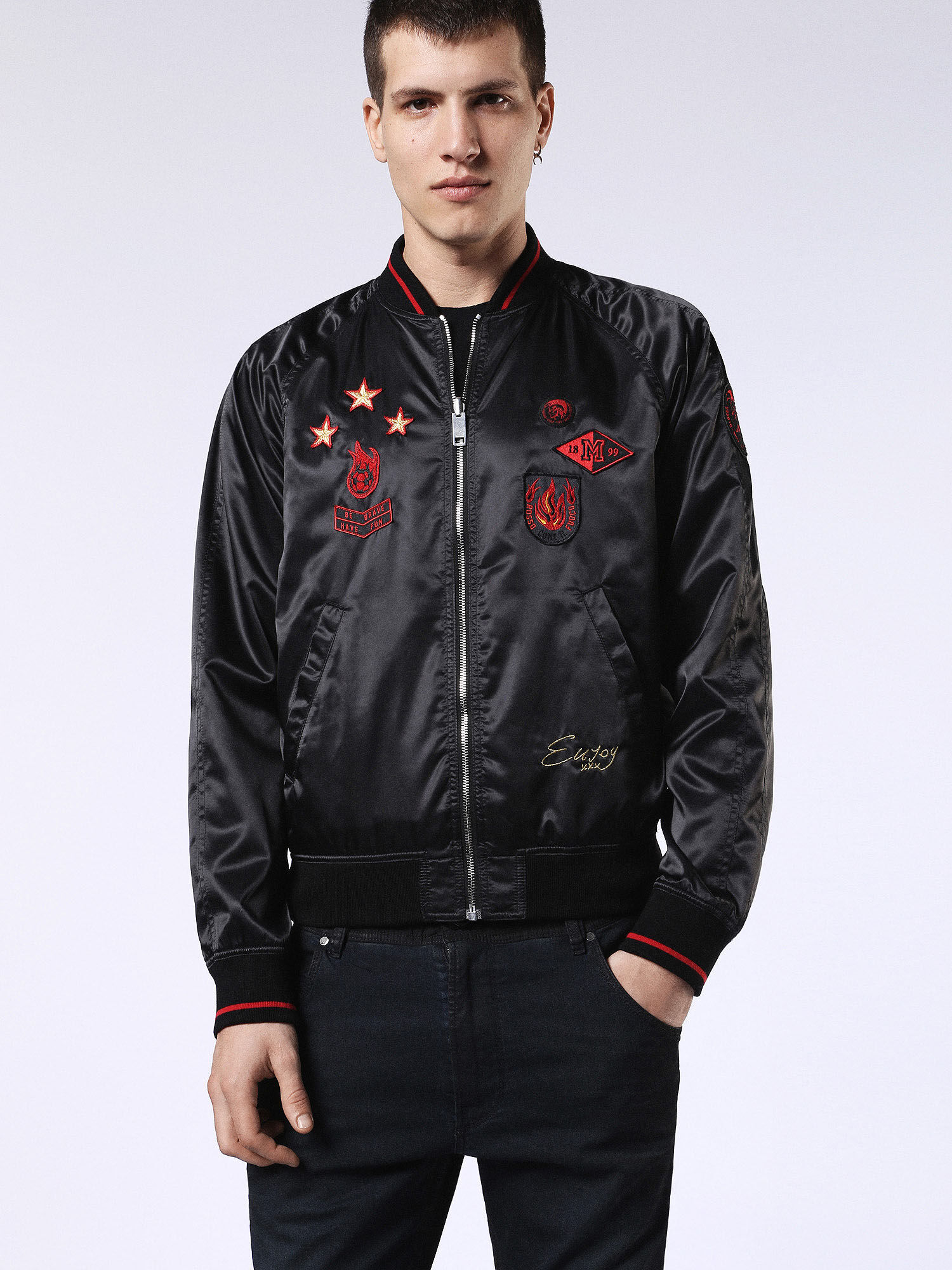 00S7RQ0LAQL Jackets Man DVL-BOMBER-RE by Diesel Black