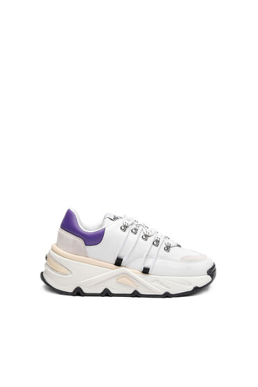 Chunky sneakers in leather and suede