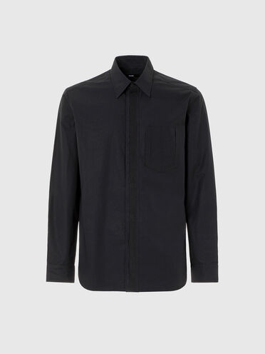 Poplin shirt with grosgrain placket