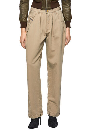 Loose pants in cotton-linen twill