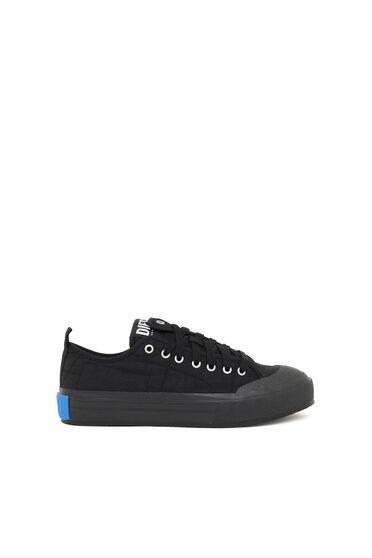 Asymmetric low-top sneakers in nylon