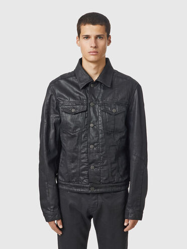 Padded trucker jacket in coated denim