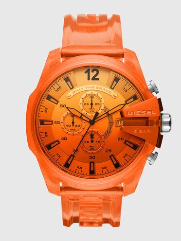 Mega Chief chronograph orange polyurethane watch