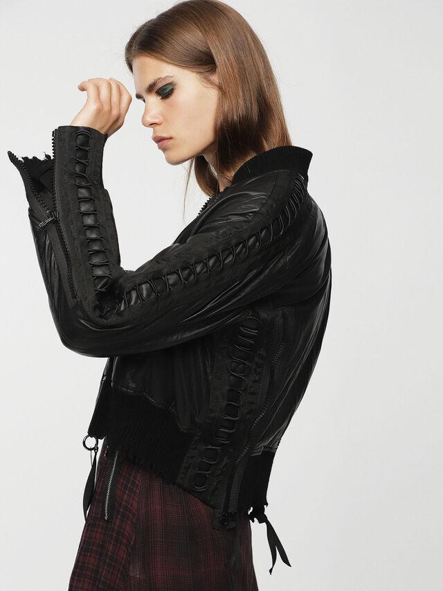 Diesel - L-WICA, Black - Leather jackets - Image 3