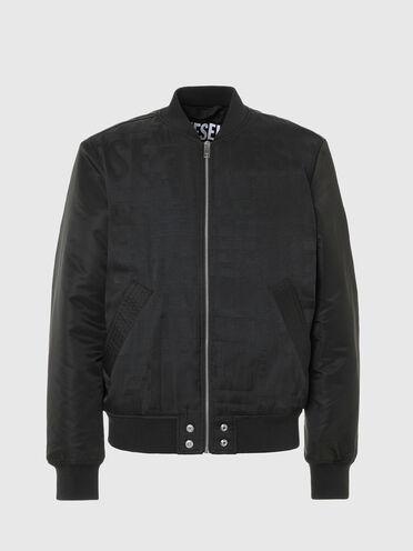 Padded bomber jacket with logo jacquard