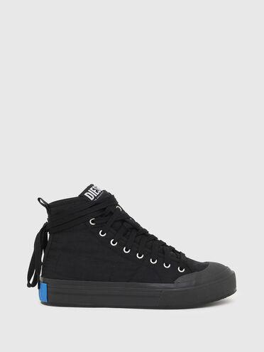 Asymmetric high-top sneakers in nylon