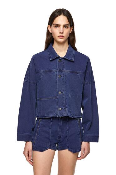 Short jacket in overdyed denim