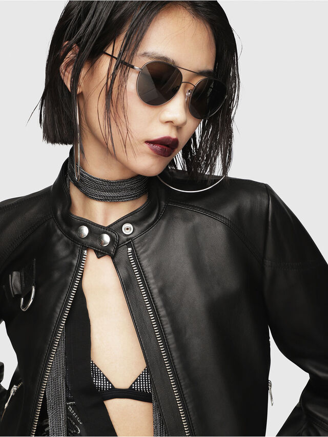 Diesel - L-SUZ, Black Leather - Leather jackets - Image 3