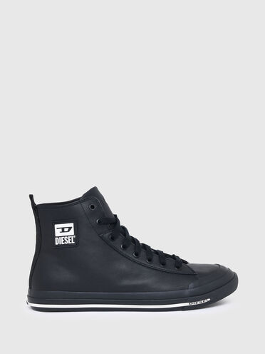 High-top sneakers in smooth leather