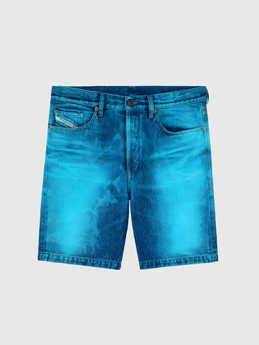 Straight shorts with lasered effects