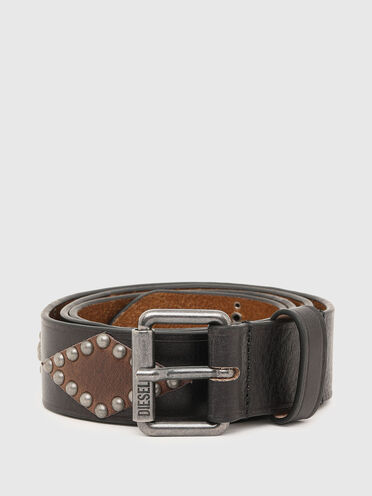 Leather belt with rhombus details