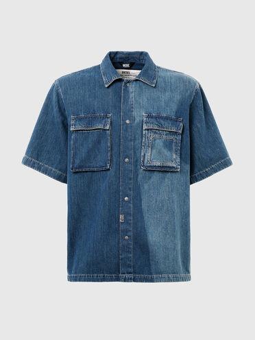 Denim shirt with sun-faded effect