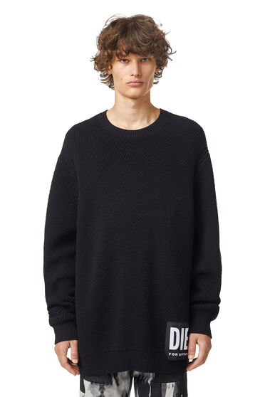 Ribbed pullover with mega logo patch