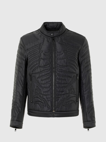 Padded biker jacket with quilted motif