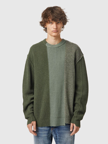 Asymmetric patchwork pullover in wool