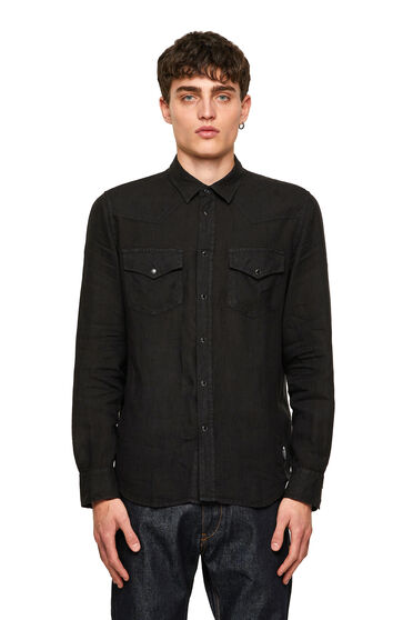 Garment-dyed Western shirt in linen