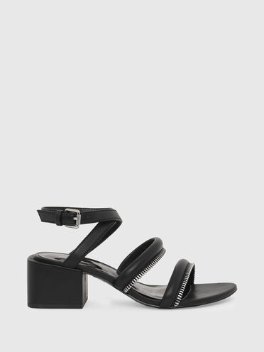 Mid-heel sandals with zip detail