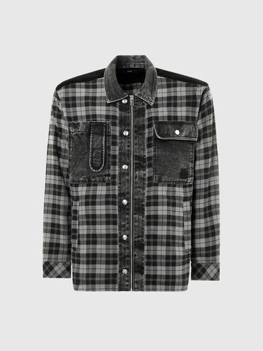 Shirt in flannel, denim and corduroy