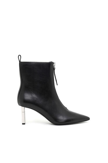 Mid-heel ankle boots in calf leather