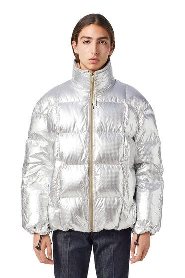 Down jacket in metallic ripstop