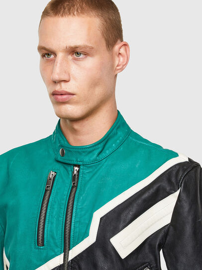 Diesel - L-PARKS, Black/Green - Leather jackets - Image 3