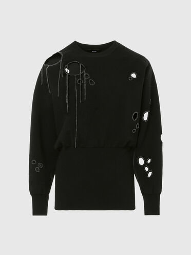 Pullover with chain-embellished cut-outs