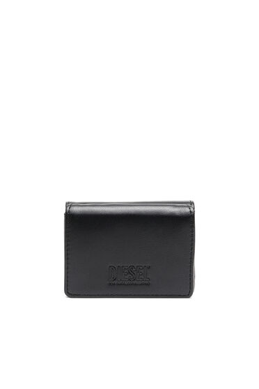 Tri-fold wallet in faux nappa