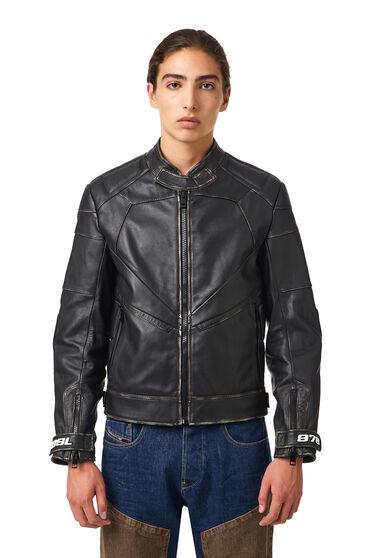 Biker jacket with panelled design