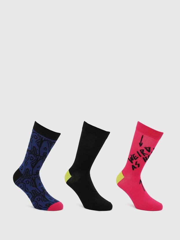 SKM-HERMINE-THREEPAC, Black/Red - Socks