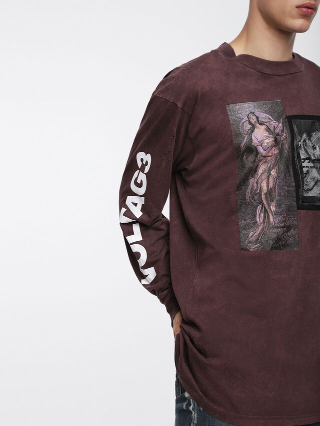 Diesel T-LUCAS-LS-XF, Burgundy - T-Shirts - Image 4