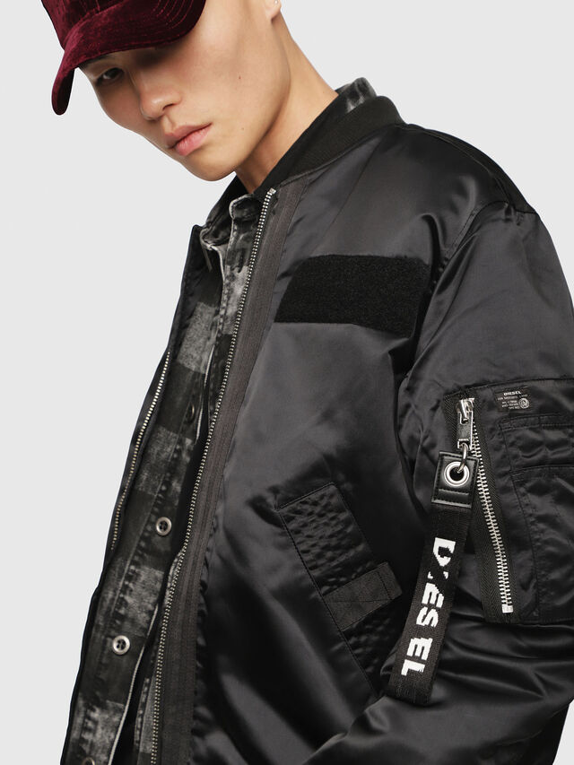 5c20a6feb J-SOULY Men: Shiny nylon bomber jacket with patches | Diesel