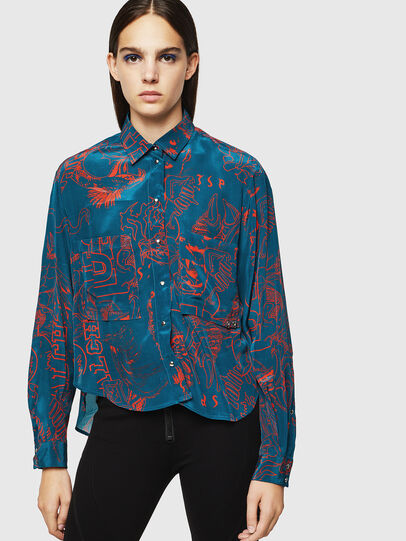 Diesel - C-SUPER-F, Blue/Red - Shirts - Image 1