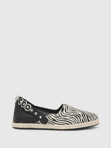 Convertible espadrilles in pony hair