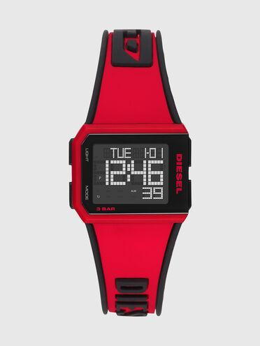 Chopped Digital Red Silicone Watch