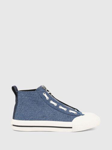 High-top sneakers in tonal denim