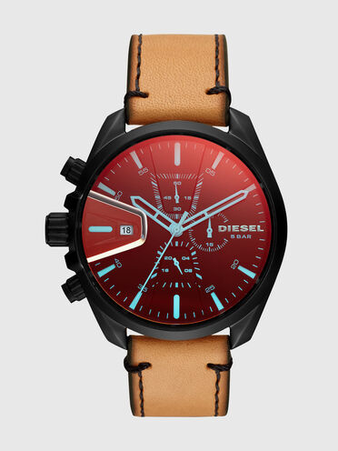 MS9 Chrono leather watch with iridescent lens, 47 mm