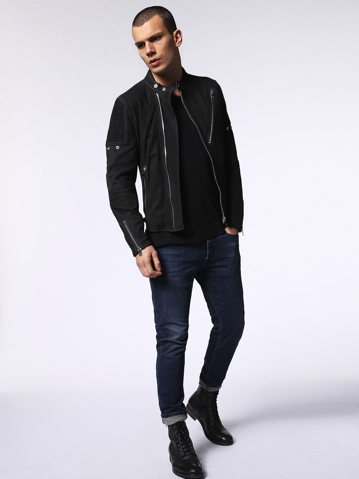 00SVIV0QAPA Leather jackets Man L-MACKSON by Diesel Black