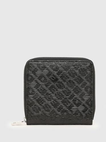 Zip-around wallet with embossed logo