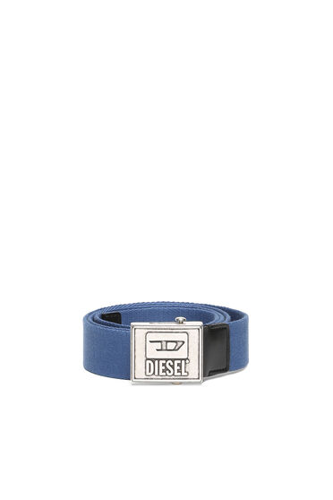 Tape belt with logo buckle